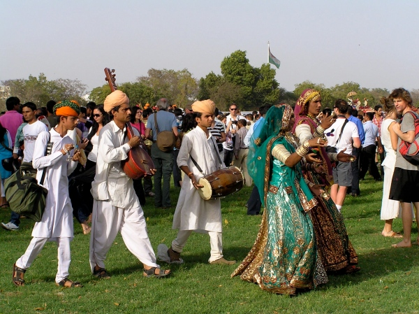 DANCERS AND MUSICIANS AT THE ELEPHANT FESTIVAL
