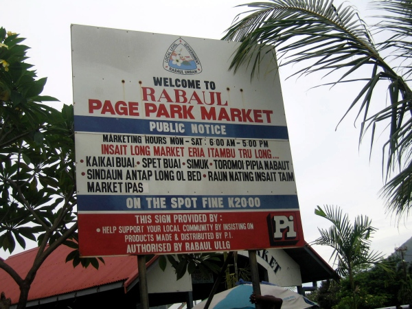 SIGN AT THE RABAUL MARKET