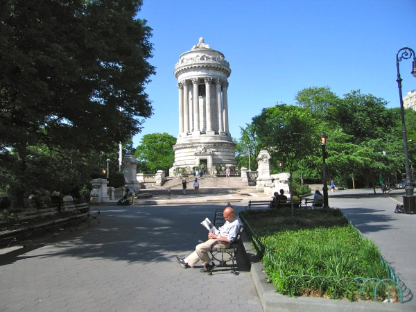 SOLDIERS' AND SAILORS' MONUMENT LOOKING NORTH FROM THE SOUTH PORTICO
