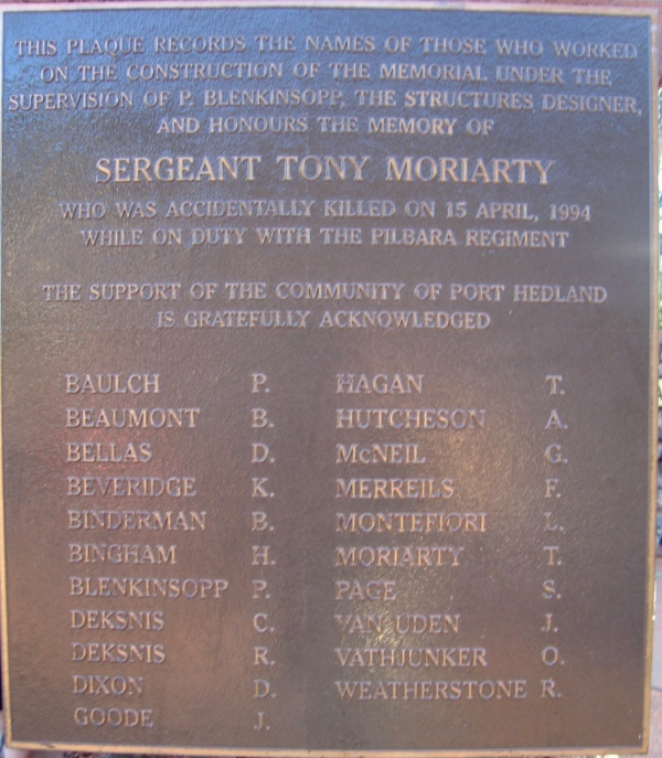PLAQUE DEDICATED TO SARGEANT TONY MORIARTY