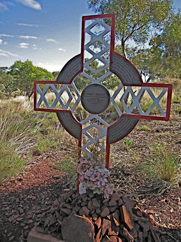 A MEMORIAL CROSS TO JIMMY REGAN -  James Regan died during a rescue operation in the Karijini National Park.