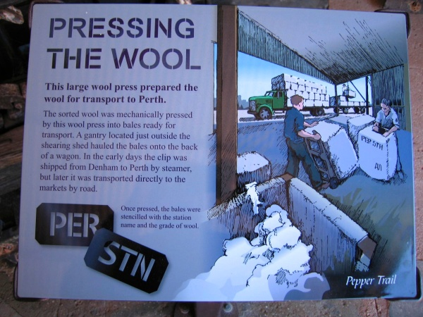 WOOL WAS PRESSED INTO BALES BY A LARGE WOOL PRESS