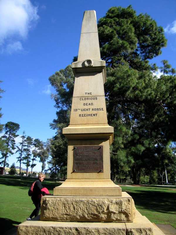 10TH LIGHT HORSE REGIMENT - Memorial erected in memory of Lieut Col TJ Todd CMG, DCM and Officers, Non-Commissioned Officers and Troopers of the the 10th Light Horse who fell in the Great War The foundation stone for the granite obelisk was laid by the Governor, Sir Francis Newdegate in Kings Park on the 8th October 1920. The regiment served on foot in Gallipoli, was the first to enter Jerusalem and Damascus and served in the Egyptian rebellion. The regiment had lost 299 of its 3,300 men in the war , The Minister for Education, Mr Colebatch, stated that funds for the memorial came in small sums from all parts of the State. The Brisbane Courier (Qld.), 9th October 1920. The Memorial was unveiled by the Governor on the 13th March 1921 after which a short memorial service was conducted by the Chaplain-General , Archbishop Riley. The West Australian (Perth), 12th March 1921. At the outbreak of World War One in 1914 the Australian Imperial Force (AIF) was raised. Initially a mounted unit was not required from Western Australia however approval was given for C Squadron of the 7th Light Horse Regiment to be formed in Western Australia. The balance came from Queensland and New South Wales. Interest was so great that it was realised that a complete Regiment could be formed by Western Australians and the 10th Light Horse Regiment was established. The Regiment first saw action on Gallipoli Peninsula as Infantry; their baptism of fire being at Quinn`s Post and Pope`s Hill. As part of the 3rd Light Horse Brigade, the Regiment, together with the 8th Light Horse Regiment was involved in the action at The Nek where both units showed outstanding gallantry but suffered severely. The only Victoria Cross gained by an Australian Light Horse unit was won on Gallipoli by Second-Lieutenant H.V. Throssell of 10th Light Horse at Hill 60 in August 1915.
