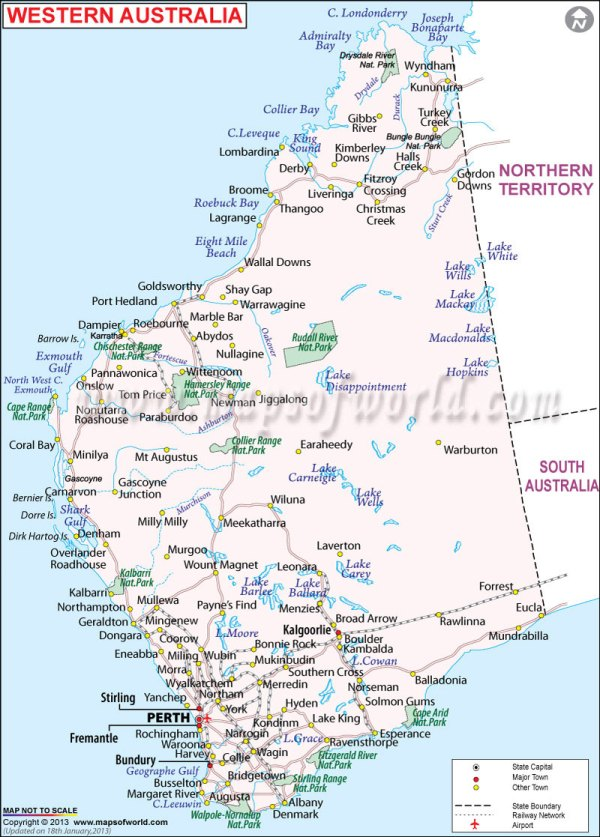 Maps Update 15002155 Map of Western Australia with Cities and – Map of Australia and Cities