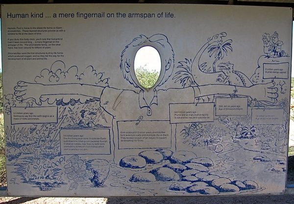 SIGN SHOWING THE HISTORY OF STRAMATOLITES