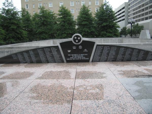 POLICE MEMORIAL, NASHVILLE, TENNESSEE - This memorial is dedicated to the officers who gave their lives serving the State of Tennessee