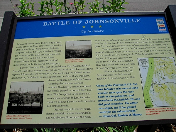 PLAQUE  EXPLAINING WHAT HAPPENED AT JOHNSONVILLE