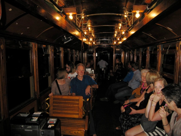 MEMPHIS TROLLEY INTERIOR AT NIGHT