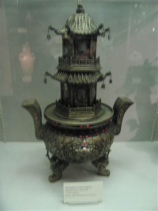 BELZ MUSEUM MEMPHIS MONGOLIAN INCENSE PAGODA QING DYNASTY SILVER, JADE AND PRECIOUS STONES