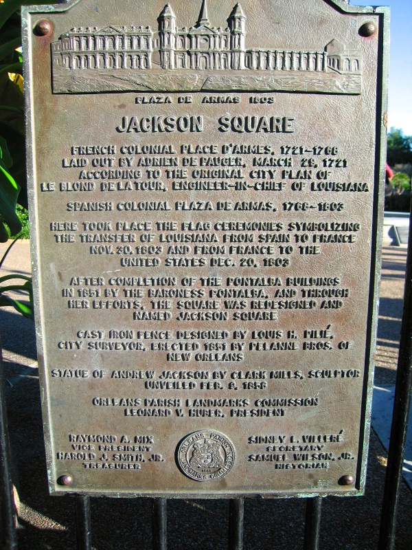JACKSON SQUARE, NEW ORLEANS  -  PLAQUE