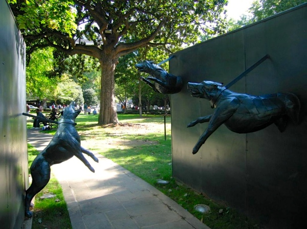 KELLY INGRAM PARK  -  Police Dog Attack Sculpture by James Drake
