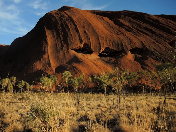 ULURU -  From a distance, Uluru looks smooth and featureless. But up close its face is weather-beaten - pitted with holes and gashes, ribs, valleys and caves. To Anangu, these features are related to the journeys and actions of ancestral beings across the landscape