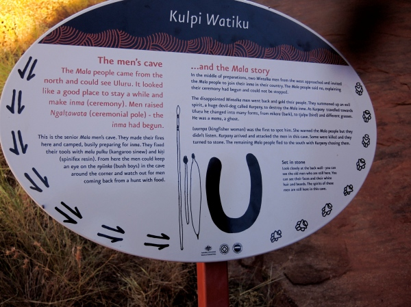 KULPI WATIKU  -   SIGN DESCRIBING THE MEN'S CAVE