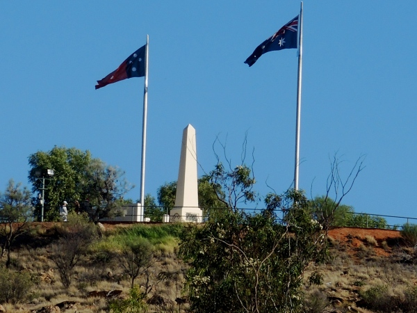 "ALICE SPRINGS WAR MEMORIAL  -   The Alice Springs War Memorial on top of Anzac Hill in the heart of the Northern Territory. This view is looking to the south. Originally known simply as ""The Hill"", it was later known as ""Stott Hill"" and then ""View Hill"". However in 1934 it was officially renamed ANZAC HILL in honour of the Australians and New Zealanders killed during the First World War."