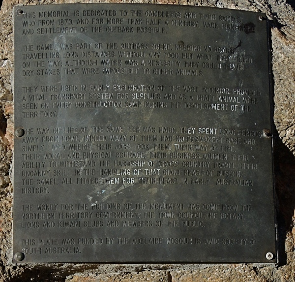 PLAQUE DEDICATED TO THE EARLY CAMELEERS IN THE OUTBACK (DETAIL)