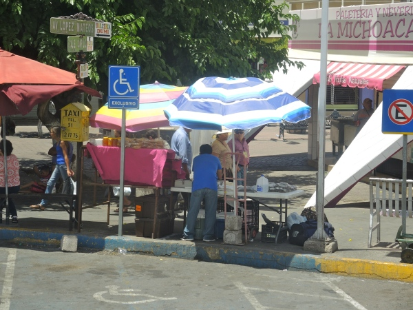 NOGALES MEXICO - BORDER CROSSING  -  VENDORS SETTING UP