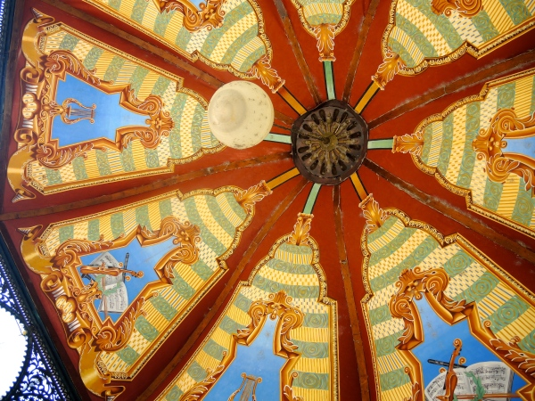ROOF OF THE GAZEBO IS PAINTED WITH MUSICAL INSTRUMENTS
