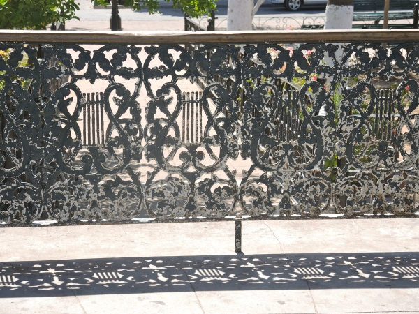 GAZEBO WROUGHT IRON RAILING DECORATED WITH MUSICAL INSTRUMENTS