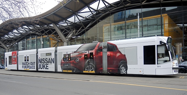 MELBOURNE TRAM IN FRONT OF SOUTHERN CROSS STATION