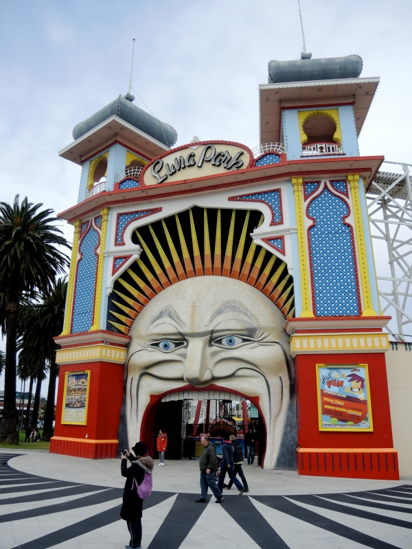 LUNA PARK  -  Melbourne's Luna Park is a historic amusement park located on the foreshore of Port Phillip Bay in St Kilda, Melbourne, Victoria. It opened on 13 December 1912 and has been operating almost continuously ever since.