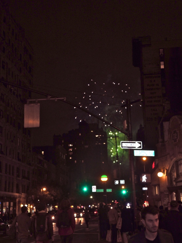 HALLOWEEN FIREWORKS OVER CENTRAL PARK, SEEN AT 72ND STREET AND BROADWAY