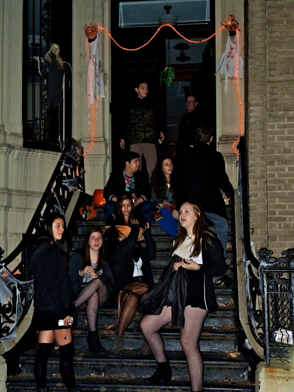 HALLOWEEN REVELERS ON 87TH STREET BETWEEN WEST END AVENUE AND RIVERSIDE DRIVE