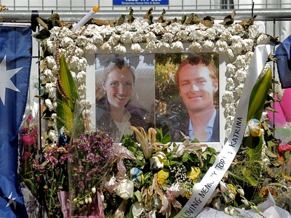 SYDNEY PAYS TRIBUTE TO THOSE KILLED IN THE MARTIN PLACE LINDT CAFE SHOOTOUT - DETAIL SHOWING PHOTOS OF KATRINA AND TORI