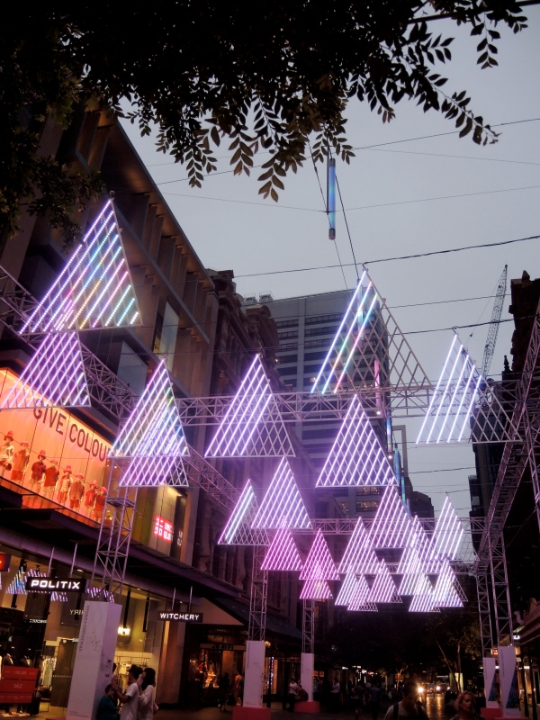Magical Christmas Light Forest installation The overhead Christmas Light Forest installation floats above the length of Pitt Street Mall. Suspended 'trees' made from thousands of LED lights.