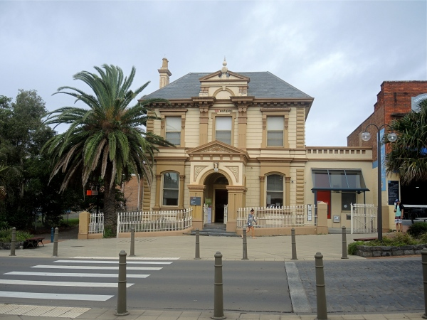WESTPAC BANK KIAMA  -  Westpac Bank, a two-storey stuccoed stone and brick building with wrought-iron railings and gate. Of the Victorian Classical Revival it opened in 1887 as the City Bank of Sydney.