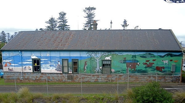 NEXT TO THE KIAMA RAILWAY STATION YOU CAN SEE THIS OUTDOOR WALL MURAL