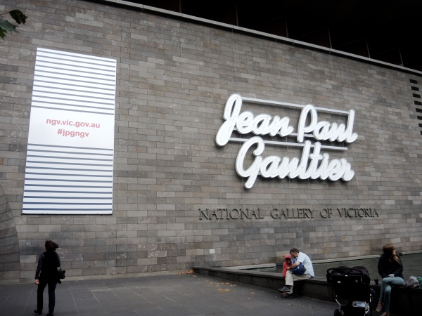 NATIONAL GALLERY OF VICTORIA  - MELBOURBE ENTRANCE WITH THE LATEST EXHIBITION OF JEAN PAUL GAULTIER