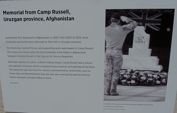 LEST WE FORGET  - MEMORIAL FROM CAMP RUSSELL, URUZCAN PROVINCE , AFGHANISTAN