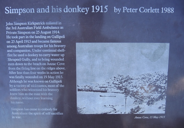 SIMPSON AND HIS DONKEY  1915   BY  PETER CORLETT 1988