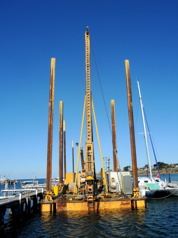 PORTARLINGTON PIER  - LARGE PILING RIG USED IN RNOVATION OF THE PIER