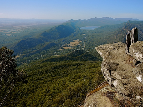 HALLS GAP FROM BAROKO LOOKOUT  -  Baroka is a well known lookout in the Grampian ranges, and offers spectacular views of Halls Gap and the surrounding country side.