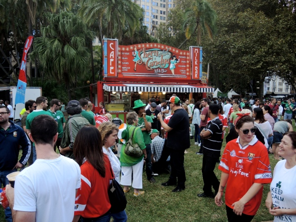SPECTATORS AT THE ST. PATRICKS DAY CELEBRATION AT HYDE PARK IN SYDNEY