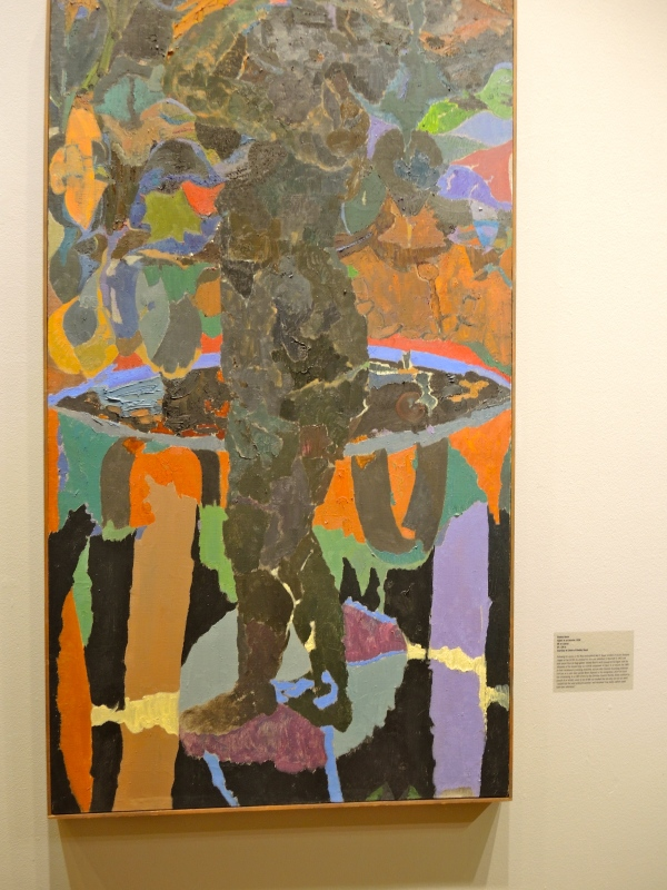 STANLEY BOXR: FIGURE IN AN INTERIOR, 1958, OIL ON CANVAS, 54 X 30 INCHES.