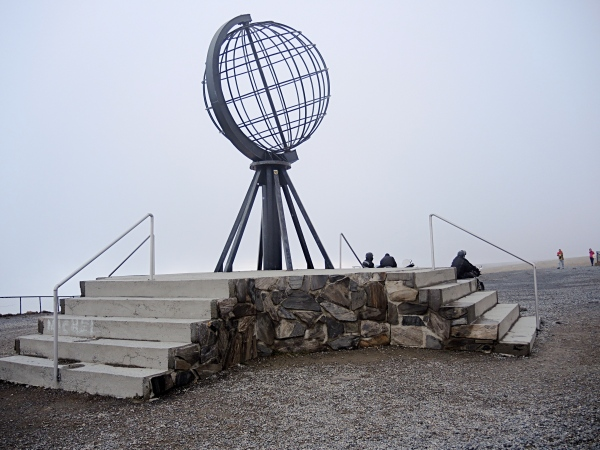 THE NORTH CAPE GLOBE - This is a view of the North Cape monument. You can see a big rock with a symbolic globe sculpture. This is the northiest point in Europe,