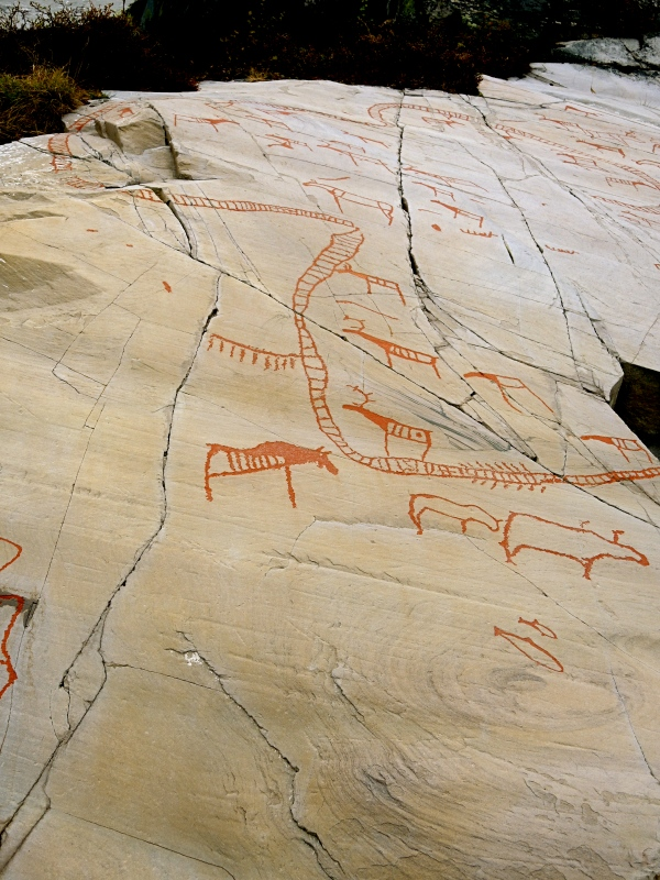 ALTA MUSEUM ROCK CARVING - REINDEER IN A CORRAL AND ELK OUTSIDE THE CORRAL