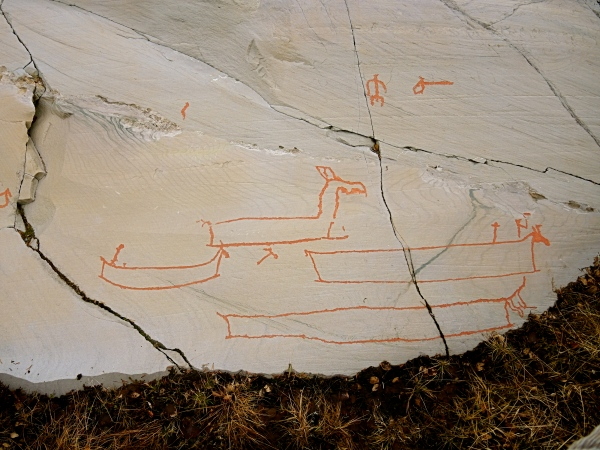 ALTA MUSEUM ROCK CARVING - FISHING BOATS WITH ELK HEAD PROWS
