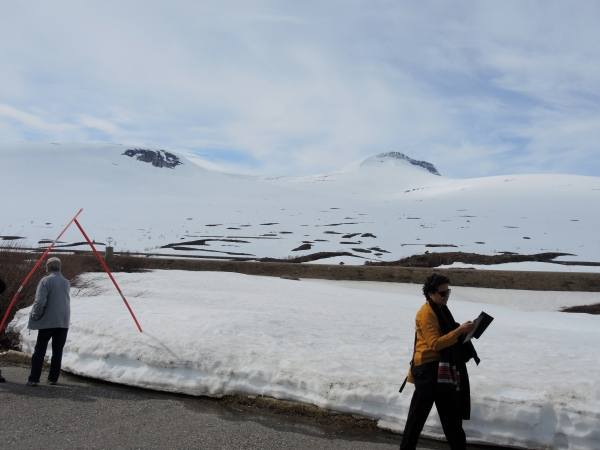 THE ARCTIC CIRCLE CENTER - IN JUNE THERE IS SNOW ON THE GROUND HERE AT THE ARCTIC CIRCLE