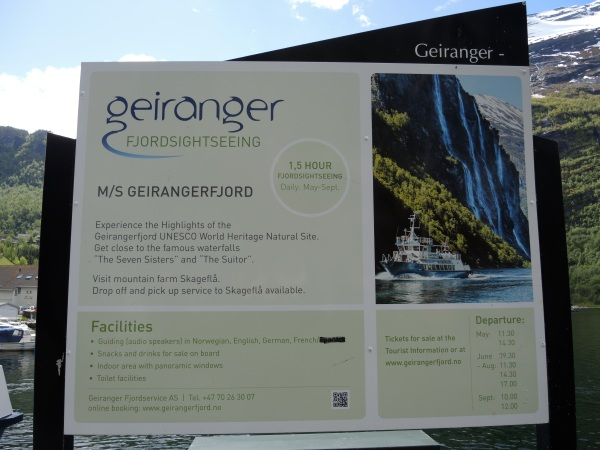GEIRANGER - SIGN FOR A FJORD SIGHTSEEING BOAT