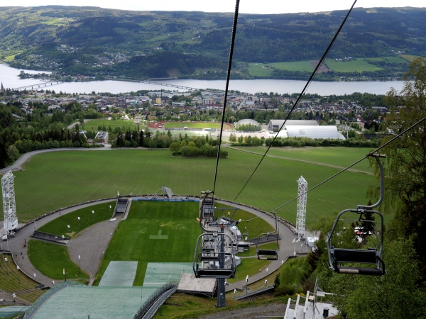 LOOKING DOWN FROM THE SKI JUMP TOWARD LILLEHAMMER